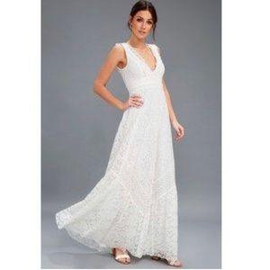 Lulu's Eldridge White Lace Maxi Dress